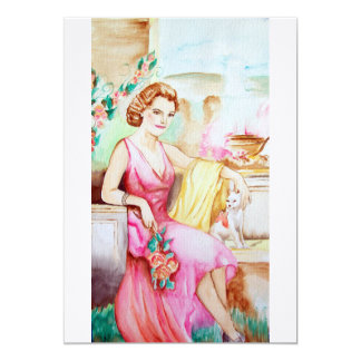 Young lady in Garden 13 Cm X 18 Cm Invitation Card