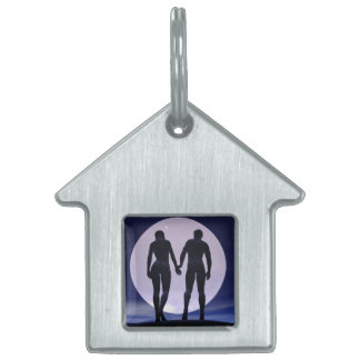 Young lovers by night - 3D render Pet Name Tag