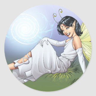Young Magical Elf Fairy by Al Rio Classic Round Sticker