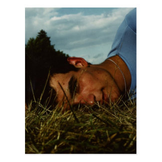 Young man in grass postcards