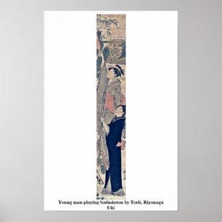 Young man playing badminton by Torii, Kiyonaga Uki Poster