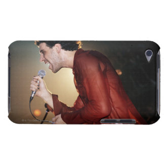 Young man singing into microphone, profile, side iPod touch cover