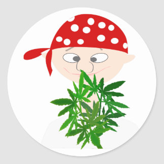 Young Man with Weed Bouquet Personalized Classic Round Sticker