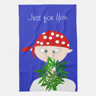 Young Man with Weed Bouquet Personalized Tea Towel