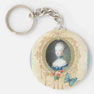 Young Marie Antoinette Butterfly Art Print Basic Round Button Key Ring