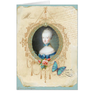 Young Marie Antoinette Butterfly Art Print Card