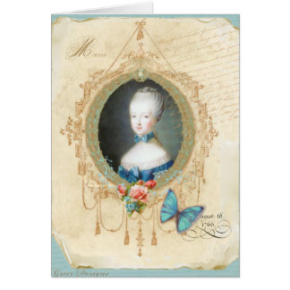 Young Marie Antoinette Butterfly Art Print Cards