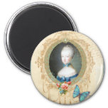 Young Marie Antoinette Butterfly Art Print Magnets