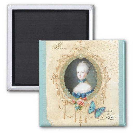 Young Marie Antoinette Butterfly Art Print Square Magnet