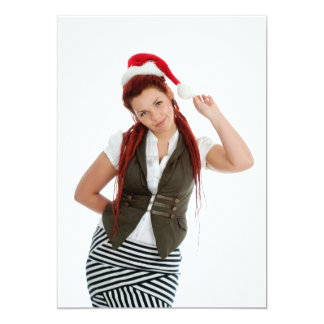 Young modern christmas girl on white background. 13 cm x 18 cm invitation card