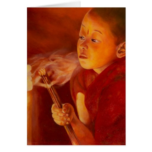 Young Monk Greeting Cards