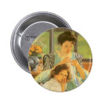 Young Mother Sewing by Mary Cassatt 6 Cm Round Badge