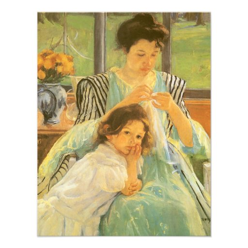 Young Mother Sewing by Mary Cassatt Custom Invites