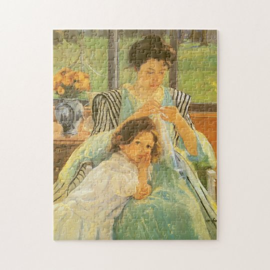 Young Mother Sewing by Mary Cassatt, Vintage Art Jigsaw Puzzle