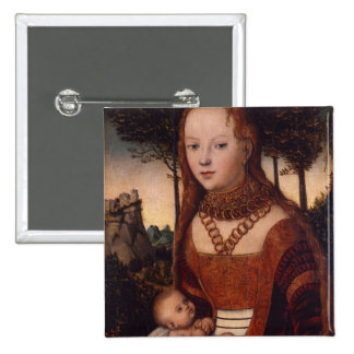 Young mother with child 15 cm square badge