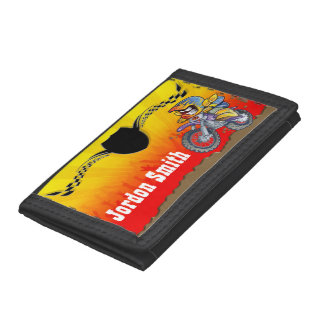 Young motocross racer tearing is up trifold wallet