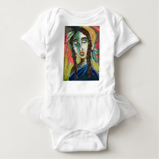 Young Native American Woman with Feathers Baby Bodysuit