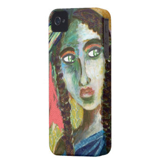 Young Native American Woman with Feathers iPhone 4 Case-Mate Cases