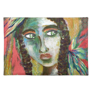 Young Native American Woman with Feathers Placemat