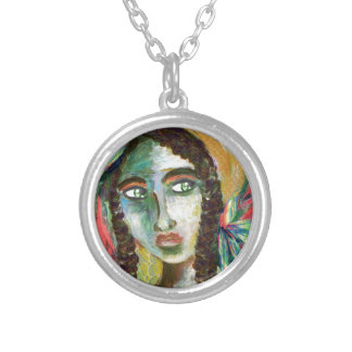 Young Native American Woman with Feathers Silver Plated Necklace