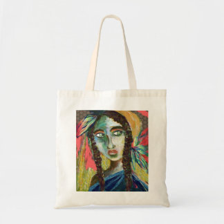 Young Native American Woman with Feathers Tote Bag