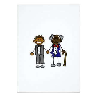 "Young Old Black Gay Couple 5"" X 7"" Invitation Card"