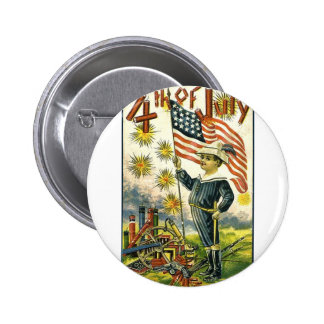 Young Patriot on the 4th of July Pinback Buttons