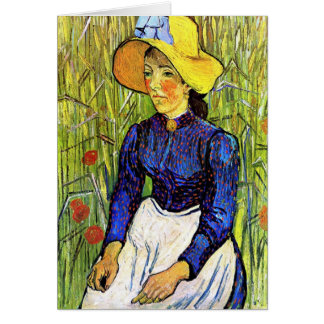 Young Peasant Girl by Vincent van Gogh 1890 Greeting Card