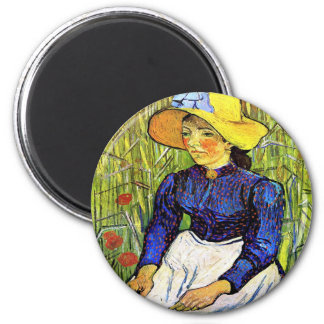 Young Peasant Girl by Vincent van Gogh 1890 Magnet