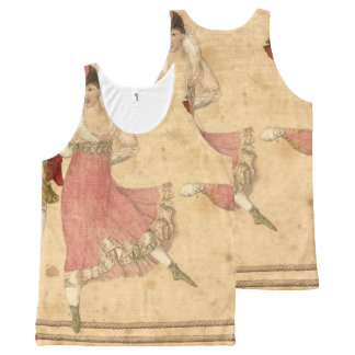Young People Dancing and Singing, vintage drawing All-Over Print Singlet