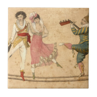 Young People Dancing and Singing, vintage drawing Ceramic Tile