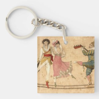 Young People Dancing and Singing, vintage drawing Key Ring