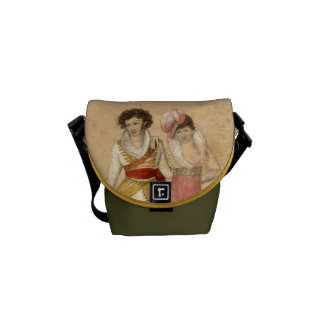 Young People Dancing and Singing, vintage drawing Messenger Bag