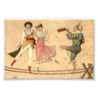 Young People Dancing and Singing, vintage drawing Photo Print