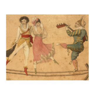 Young People Dancing and Singing, vintage drawing Wood Print