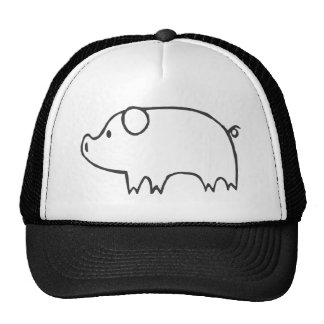 Young Pig in Black and White Sketch Trucker Hats