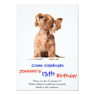Young Puppy Listening to Music on Headphones 13 Cm X 18 Cm Invitation Card