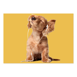 Young Puppy Listening to Music on Headphones Large Business Cards (Pack Of 100)