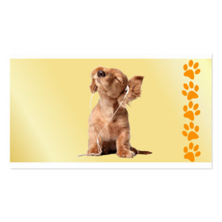 Young Puppy Listening to Music on Headphones Double-Sided Standard Business Cards (Pack Of 100)