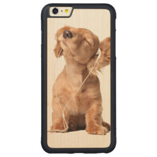 Young Puppy Listening to Music on Headphones Carved Maple iPhone 6 Plus Bumper Case