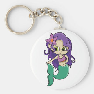 Young Purple Haired Mermaid with Big Green Eyes Basic Round Button Key Ring