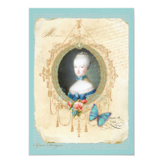 Young Queen Marie Antoinette Butterfly Print Card 13 Cm X 18 Cm Invitation Card