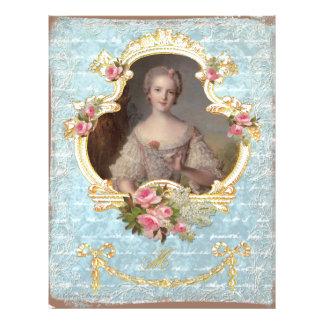 Young Queen Marie Antoinette Pink Roses Art Print 21.5 Cm X 28 Cm Flyer