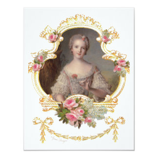 Young Queen Marie Antoinette Pink Roses Cards 11 Cm X 14 Cm Invitation Card