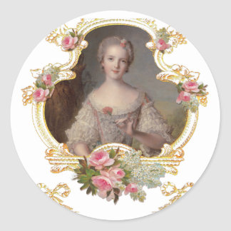 Young Queen Marie Antoinette Pink Roses Cards Round Sticker