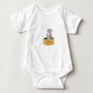 Young silver tabby cat sitting in wooden bowl baby bodysuit