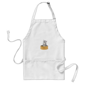 Young silver tabby cat sitting in wooden bowl standard apron