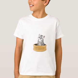 Young silver tabby cat sitting in wooden bowl T-Shirt
