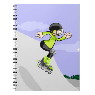 Young skate on wheels conquering the incline notebook