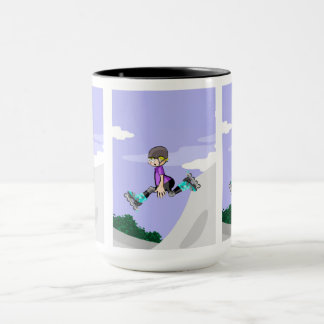 Young skate on wheels gives a great extreme jump mug